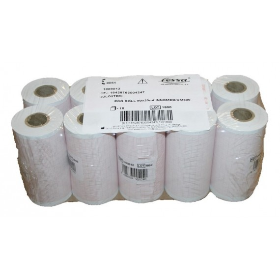 Rollos de papel térmico para ECG Innomed/CM300 de 80 milímetros x 20 metros (10 unidades)