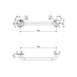 Barra de ayuda recta con 2 puntos de apoyo 40 centímetros