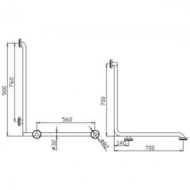 Barra en ángulo 3 brazos -90 x 70 x 70 centímetros Izd.