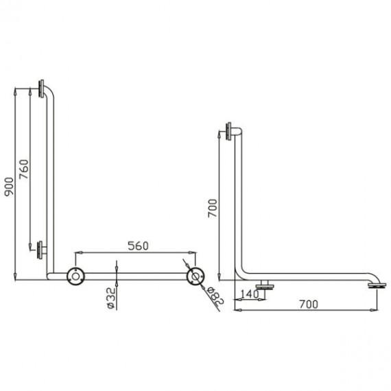 Medidas de la barra en ángulo 3 brazos (90 x 70 x 70 centímetros) Izd.