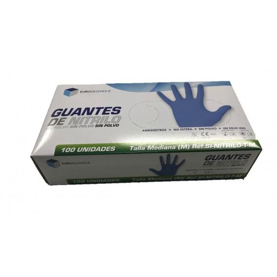 Guantes de nitrilo sin polvo Eurogloves-E (talla mediana) (100 unidades)