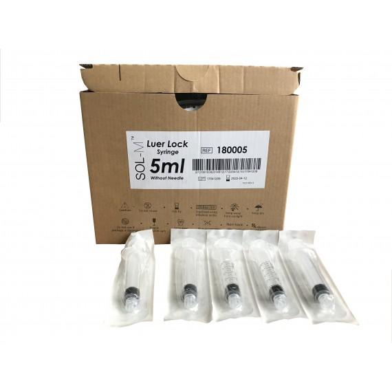 Jeringas de 5 mililitros y 3 piezas SOL-M Luer Lock (100 unidades)