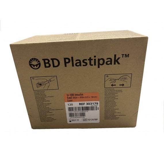 Jeringas de 1 milímetro para insulina BD Plastipack U-100 con aguja de 16 x 0,5 milímetros (120 unidades)