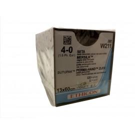 Suturas quirúrgicas no absorbible seda negra trenzada Mersilk de 4/0 y de 13 x 60 centímetros