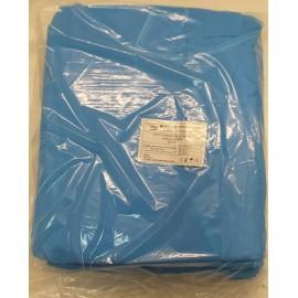 Casacas de manga corta y 45 gr/m² en color azul celeste y atado doble