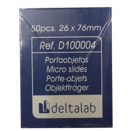 Portaobjetos DELTALAB con banda mate y cantos pulidos de 26x76 milímetros