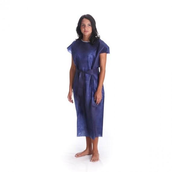 Bata desechable sin manga de 45 gr/m² azul oscuro