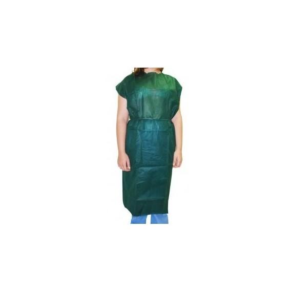 Bata desechable sin manga de 30 gr/m² verde oscuro