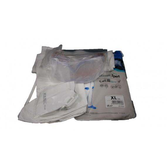 Kit amianto (mono, cubrebotas, mascarilla, toalla, gafa y bolsas)