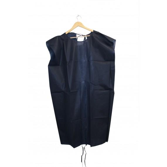 Bata desechable sin manga de 50 gr/m² azul oscuro