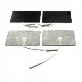 Electrodos adhesivos estimulación Lessa de 45 x 98 milímetros con cables conexión hembra de 2 mm