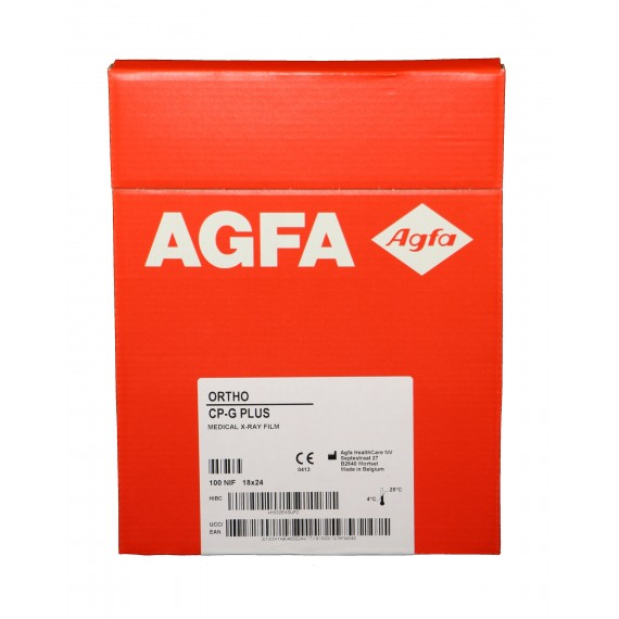 Película RX Agfa Ortho CP-G Plus de 18 x 24 centímetros (100 unidades)