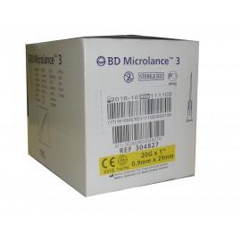 "Agujas hipodérmicas BD Microlance 3 de 0,9 x 25 milímetros 20G x 1"" Amarilla"