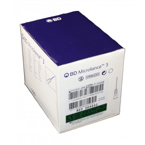 """Agujas hipodérmicas BD Microlance 3 de 0,8 x 40 milímetros 21G x1½"""" Verde (100 unidades)"""