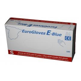 Guantes de nitrilo sin polvo Eurogloves E-Blue -talla pequeña
