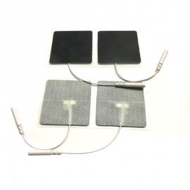 Electrodos adhesivos estimulación Lessa de 50 x 50 milímetros con cables conexión hembra de 2 mm
